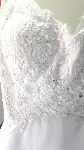 vestido novia importado en encaje y chiffon blanco o natural