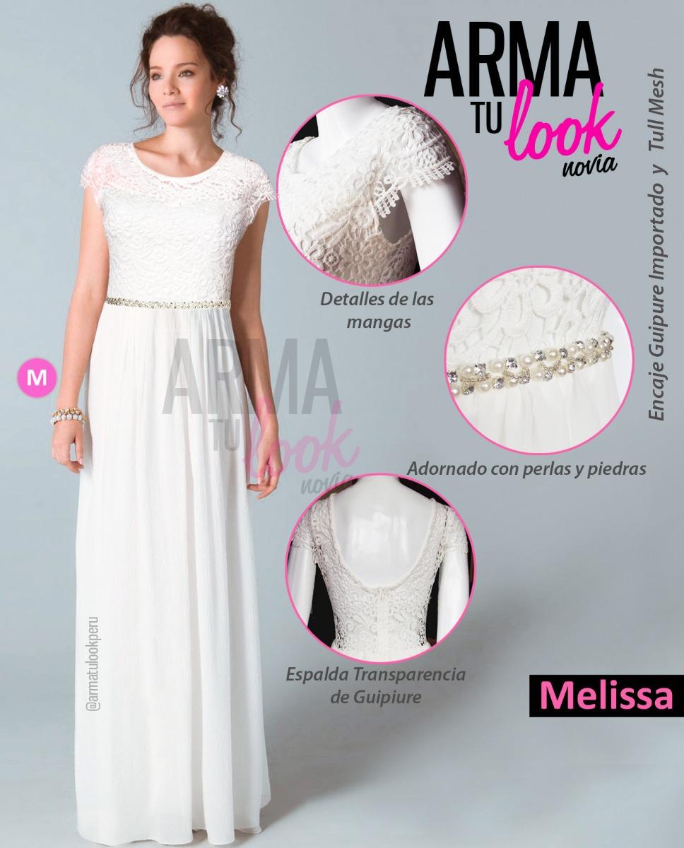 4a3c98e93a411 Vestido Novia Melissa Playa Civil Boda Blanco Arma Tu Look - S  215 ...