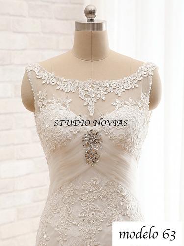 vestido novia nuevo barato bonito elegante linea a princes63