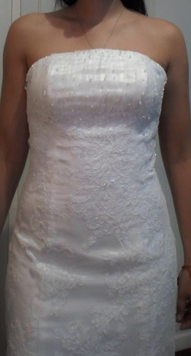 vestido novia piedras swarovski sirena velo strapless blanco