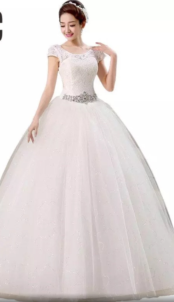 2fc1bec2c vestido novia princesa cinturón pedrería corset manguita. Cargando zoom.