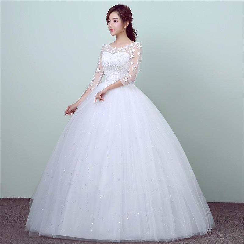 vestido novia princesa manga 3/4 gasa, encaje flores y tul