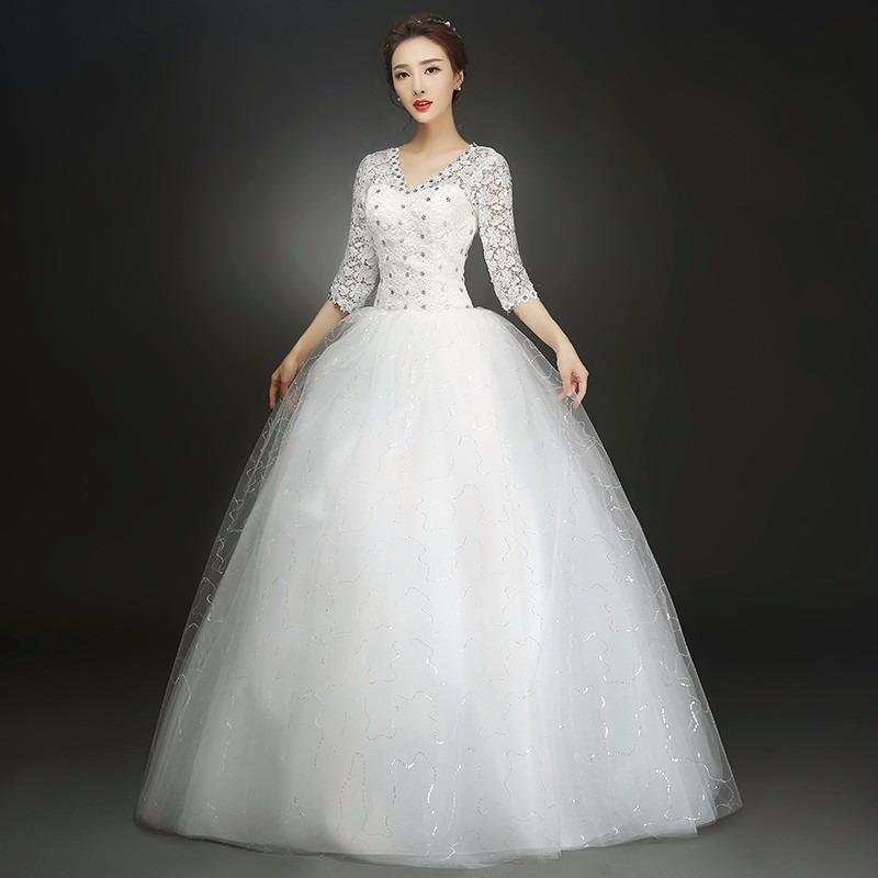 vestido novia princesa manga larga piedras ivory f - $ 2,259.00 en