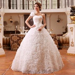Vestido Novia Princesa Un Hombro Olanes Y Apliqués Florales