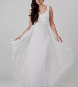 70fe44090 Vestido Novia Sencillo Con Doble Falda Gasa Moda Pasion