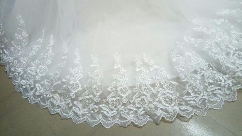 vestido novia strapless corset cola extra, encaje tul extra