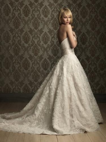 vestido novia strapless encaje bordado corset importado