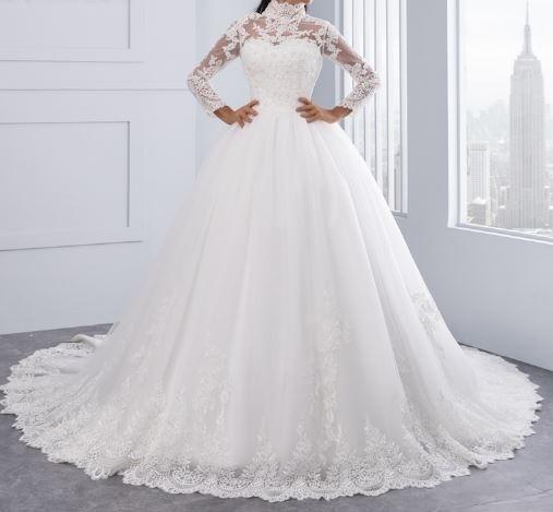 vestido novias-cuello alto, mangas largas,personalizado - $ 11.995