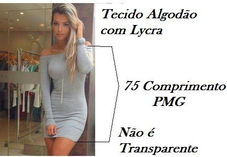 79563f9fcc4c7 Vestido Ombro A Ombro Cinza Manga Longa - R  55,77 em Mercado Livre