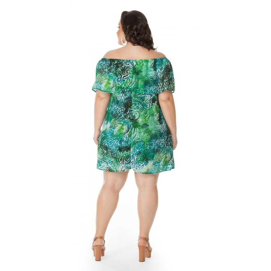 6ac324d081 vestido ombro a ombro estampado verde miss masy plus size. Carregando zoom.