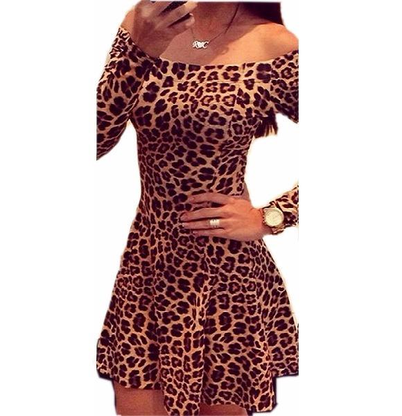f2655110f Vestido Onça Leopardo Poliéster Mini Vestido - R$ 45,90 em Mercado Livre