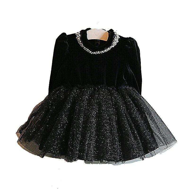 d094f962e Vestido Otoño Invierno Negro Manga Larga Para Niña