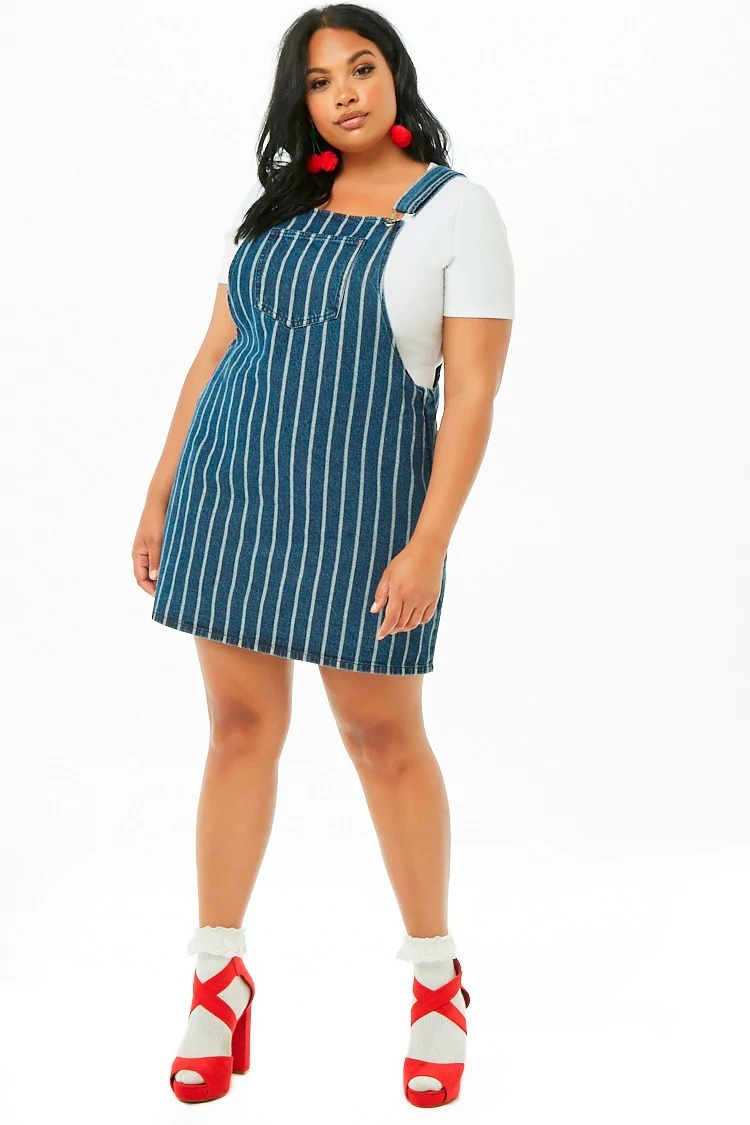 f8354377df4 vestido overall jean rayado plus size denim forever 21 2x 3x. Cargando zoom.