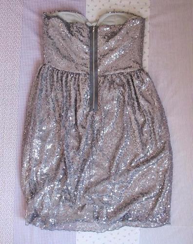 vestido paetê prata