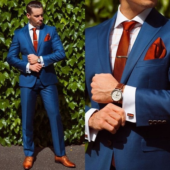 Vestido azul cobalto hombre