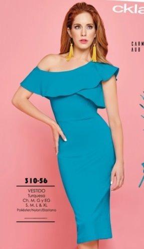 Vestido Para Dama Color Turquesa 310 56 Cklass Cfd Remate