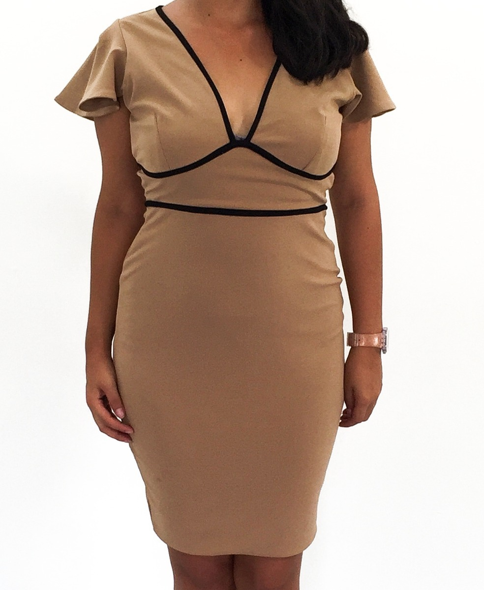 78e1a6111d Vestido Para Dama Corto Color Beige Con Detalles En Negro -   750.00 ...