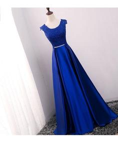 Vestido Para Dama De Honor Corte Princesa Largo Con Encaje