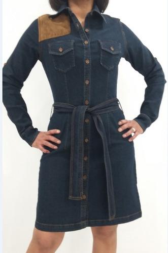 vestido para dama en mezclilla con aplicación tipo gamuza.
