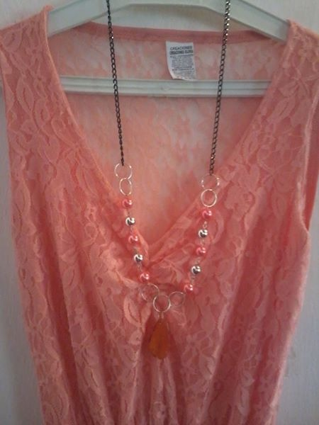 Vestido para damas con collar incluido color guayaba nuevo jpg 450x600 Color  guayaba c40e3fafb6a5