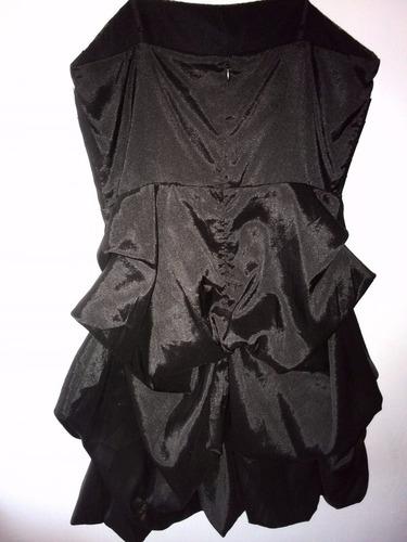 vestido para fiesta, color negro con dorado, talla s (corto)