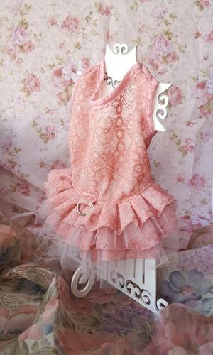 vestido para mascota - encaje rosado y tutu