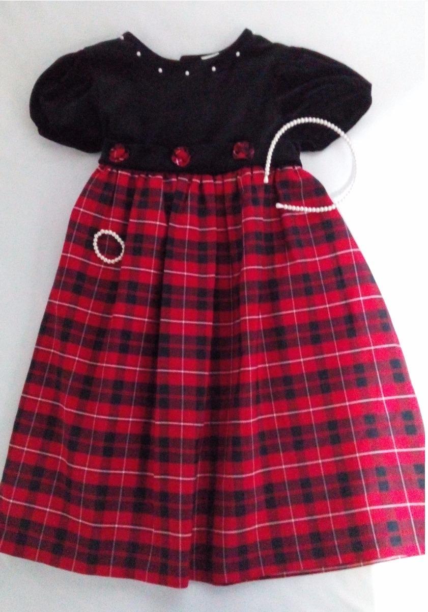 bda27449b3 Vestido Para Niña A Cuadros Rojo Y Negro -   400.00 en Mercado Libre