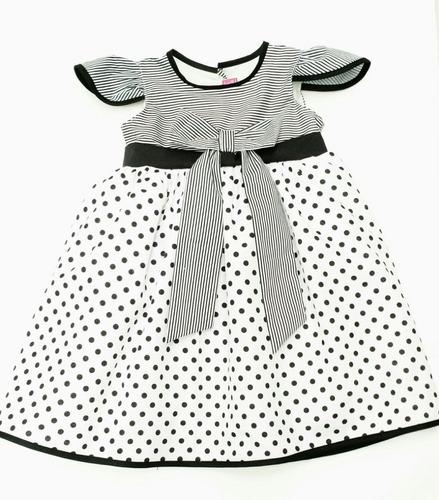 vestido para niña blanco-negro