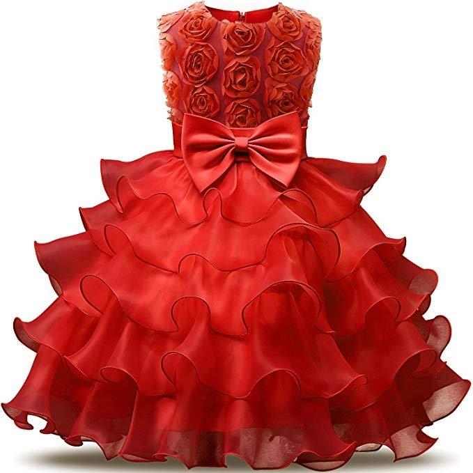 2c5302056 Vestido Para Niña Color Rojo Diseño Flores Fiesta De Nnjxd ...