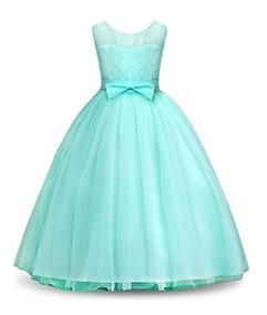 Vestido Para Niña Corte Princesa Cuello Redondo Tul Fiesta