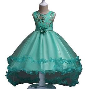 Vestido Para Niña Fiesta Elegante Cola De Pato Verde