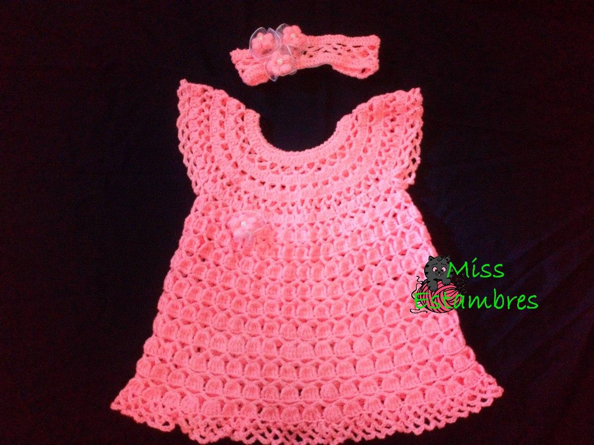 46287f43d Vestido Para Niña Hasta 2 Años Tejido A Mano Crochet. - $ 450.00 en ...