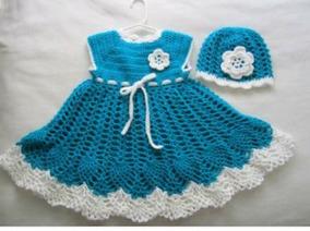 Vestido Para Niña Tejido A Crochet Color Azul