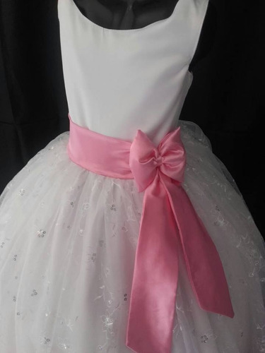 vestido para niñas  de primera comunión blanco con rosado
