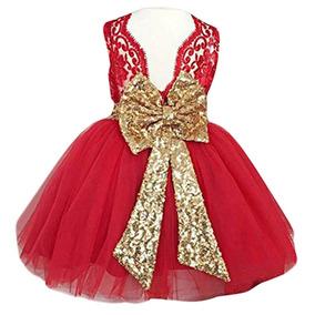 2a8973225 Vestido De Fiesta Dorado Con Rojo Para Niña 5 6 Años - Ropa