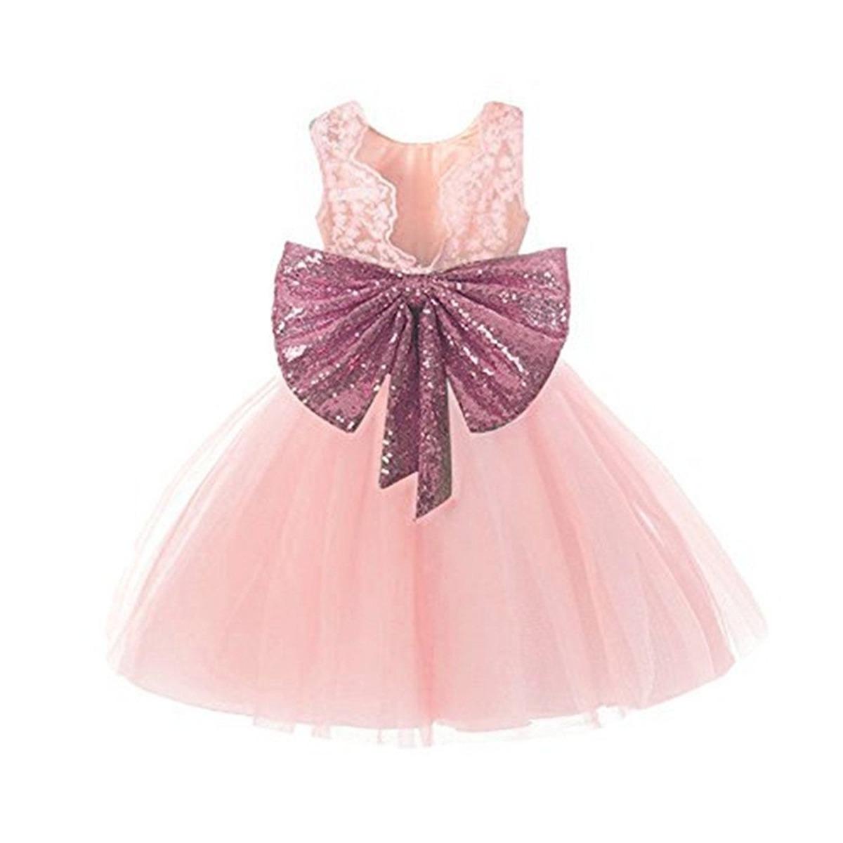 Vestido Para Niñas Rosa Bodas Fiestas Comunion Fkkfyy - $ 1,269.00 ...