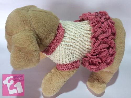 vestido para perrita o gata, tejido a crochet