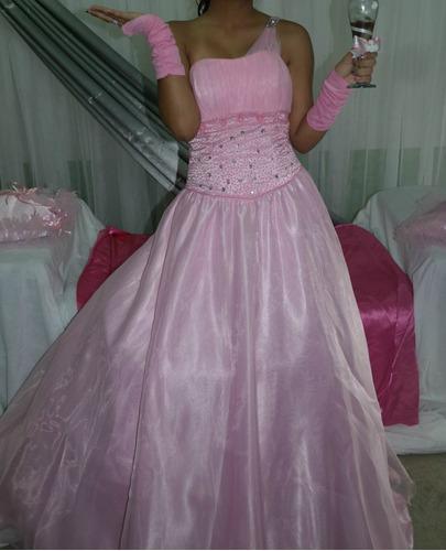 vestido para quiceaños rosado