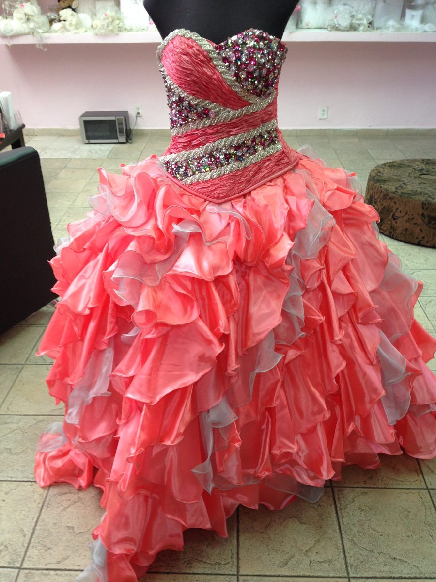 Vestido Para Xv Años Ragazza Color Coral - $ 5,000.00 en Mercado Libre
