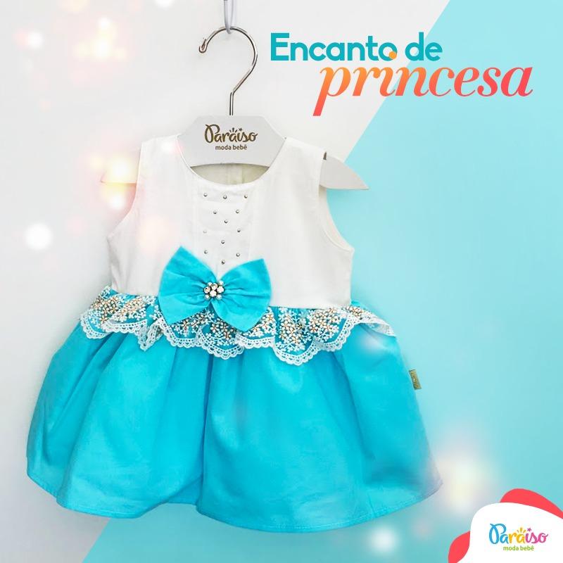 Vestido Paraiso Moda Bebe Festa Menina Turquesa Ref 6593 - R  89 db7a94a1fee3