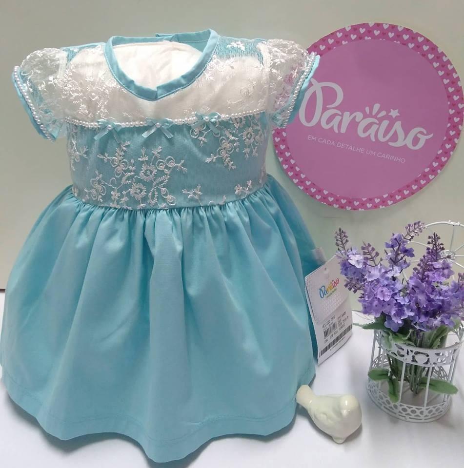 vestido paraiso moda bebe menina azul turquesa perolas 7518. Carregando  zoom. 4a474821e40