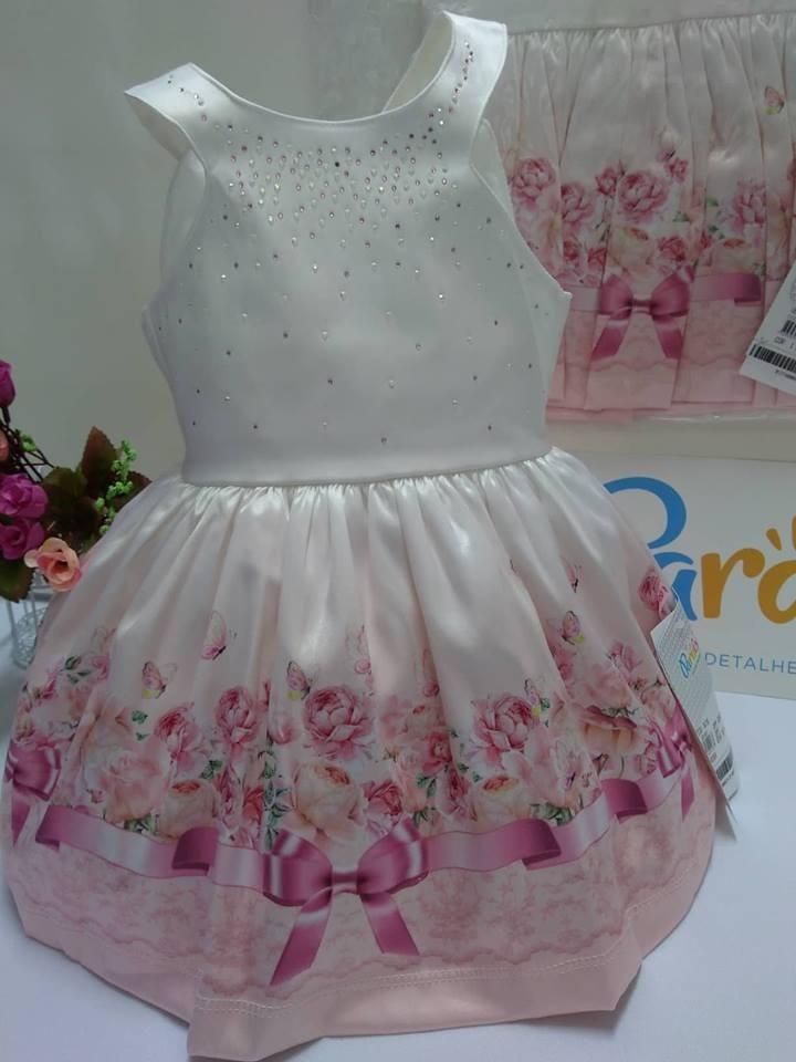 Vestido Paraiso Moda Bebe Menina Tm 1 2 3 Festa Criança 7678 - R ... c64a54eed067