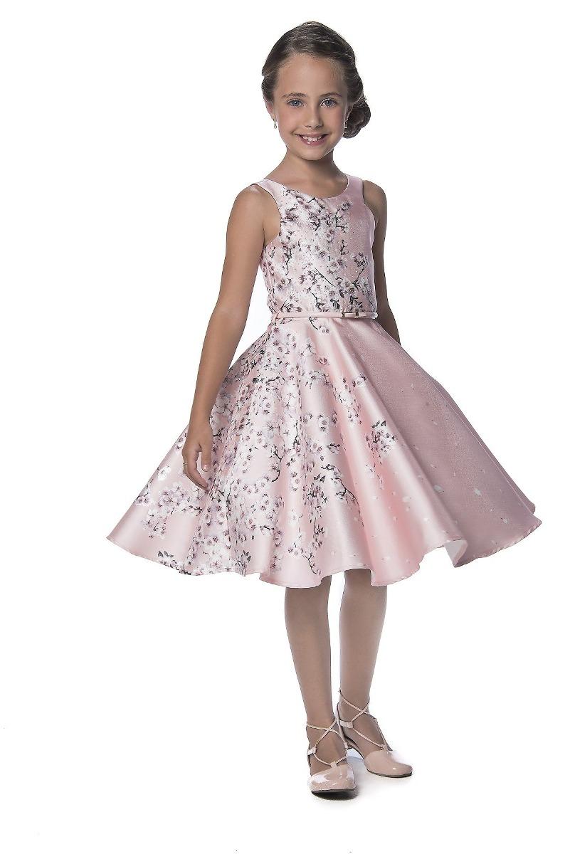 a1af808e50 Vestido Petit Cherie Festa Cetim Rosa Com Flores Cerejeira - R  308 ...