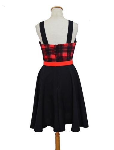 vestido pin up escocés rojo vintage retro alternativo
