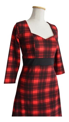 vestido pin up escote tubo  corazón manga larga escocés