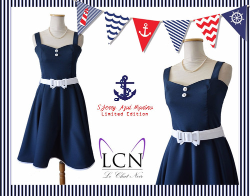 vestido pin up marinero azul blanco estilo navy retro