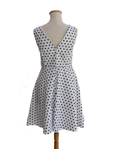 vestido pin up retro blanco lunares negros escote v espalda