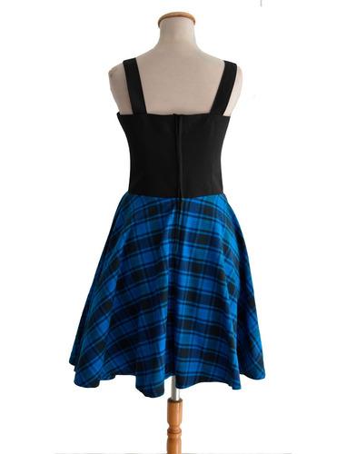 vestido pin up retro leñador cuadrillé azul escote corazon
