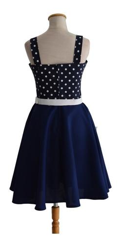 vestido pin up retro lunares azul raso vintage plato cinto