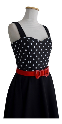 vestido pin up retro lunares negro vintage cinto moño